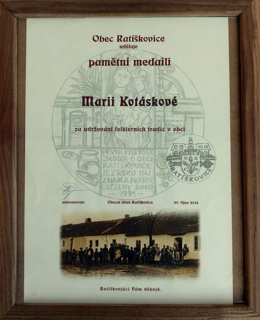Pamětní medaile za udržování folklorních tradic v obci Ratíškovice